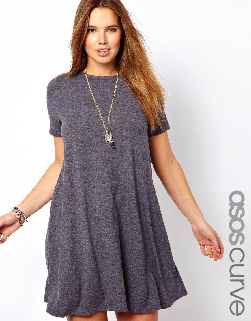 ASOS CURVE - Swing Dress With Short Sleeves | Moda | Pinterest