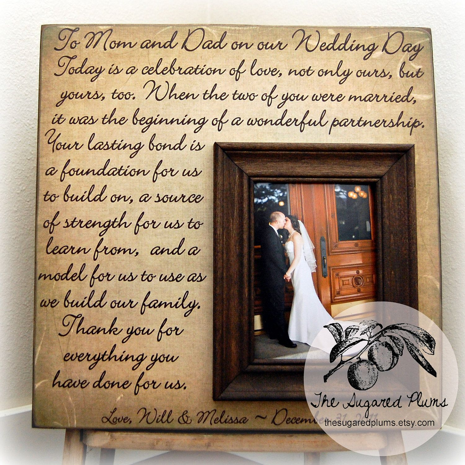 Parents Wedding Gift Personalized Picture Frame Custom 16x16 TODAY IS A CELEBRATION Anniversary Love Father Of
