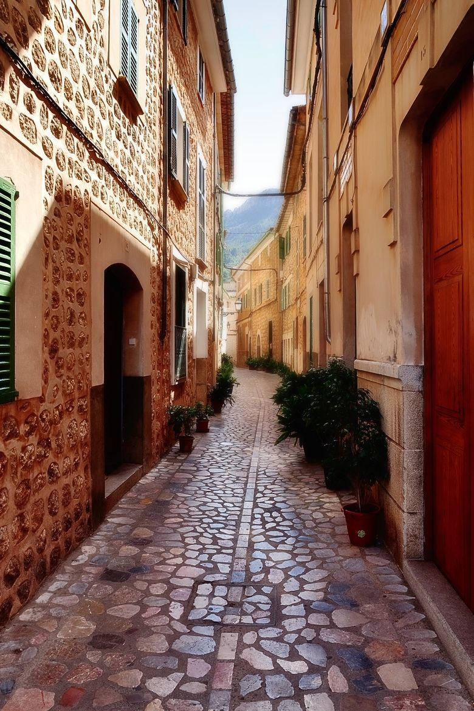 Street in Sóller, Majorca, Spain