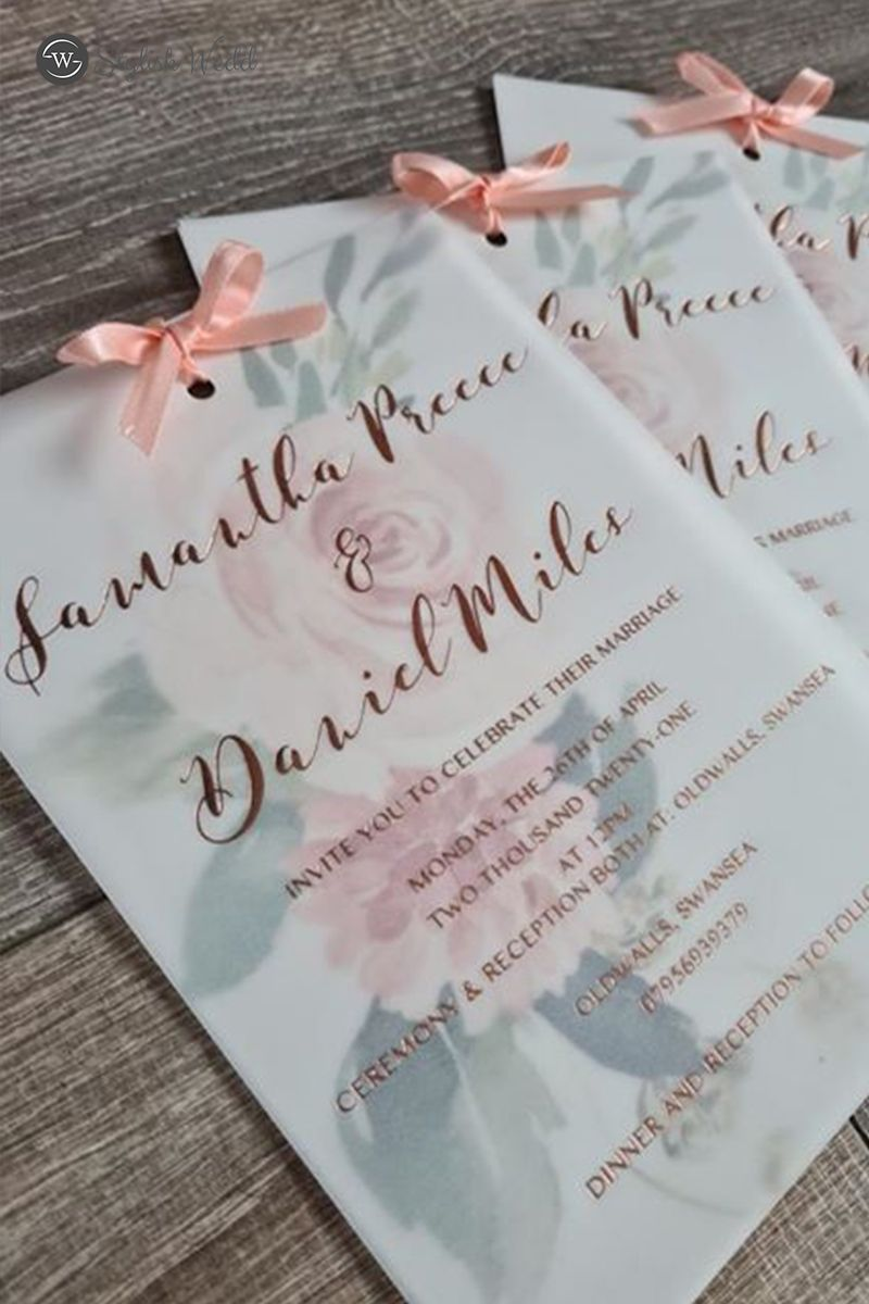 Romantic Gold Foil Pink Floral Layered Wedding Invitations In 2020 Layered Wedding Invitations Wedding Invitations Affordable Wedding Invitations