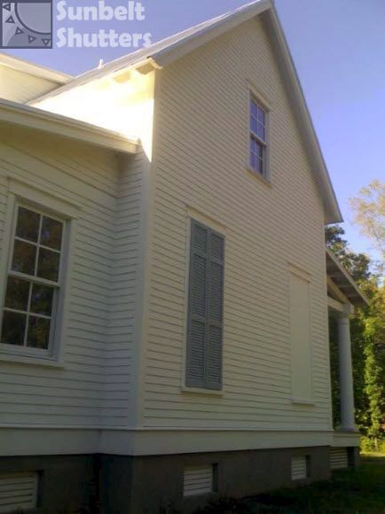 Louvered Sunbelt Shutters Help Dress Up The Blank Side Of The House With 2 Faux  Windows