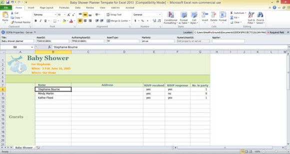 Baby Shower Planner Template For Excel  Free Excel