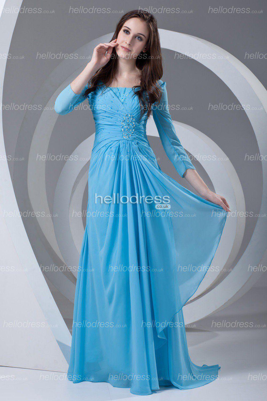 Vintage Light Blue Long Sleeves Ruffles Chiffon Long Summer Mother ...