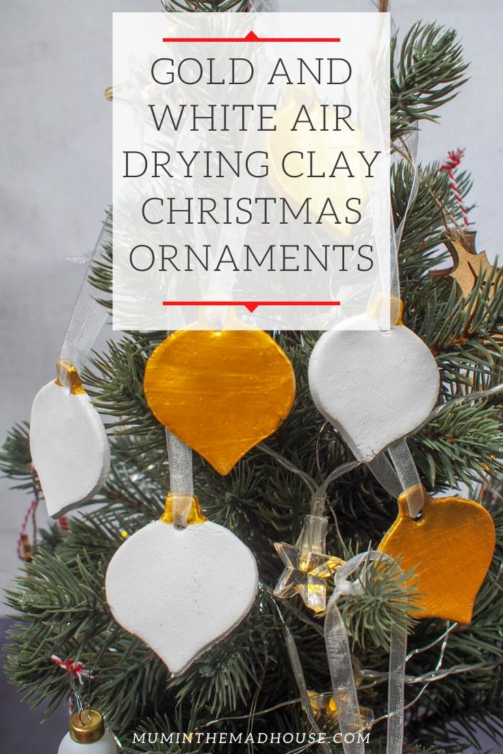 Gold And White Air Drying Clay Christmas Decorations Clay Christmas Decorations Christmas Decorations Air Dry Clay