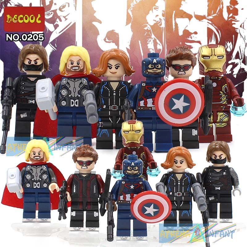 $5.99 (Buy here: http://appdeal.ru/5mbe ) Decool 0205-0210 6pcs/set Avenger 2 Iron Hero/Thor/Winter Soldier/ Assemble Minifigures Building Block Figure Toys Compatible for just $5.99
