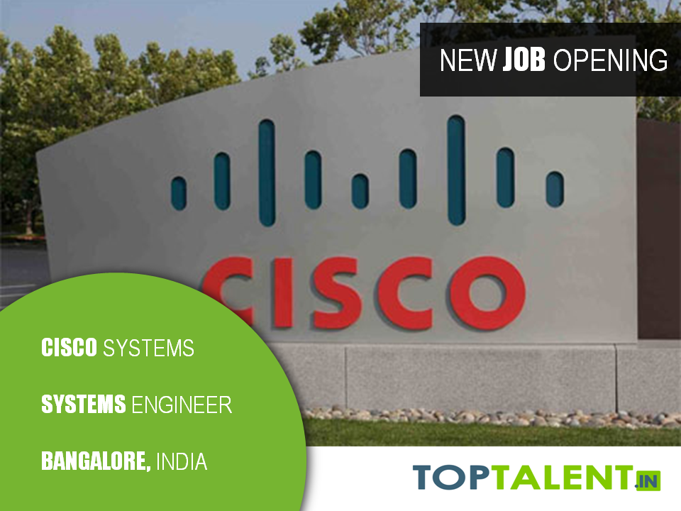 Cisco Is Hiring Freshers For Systems Engineer  Sales In