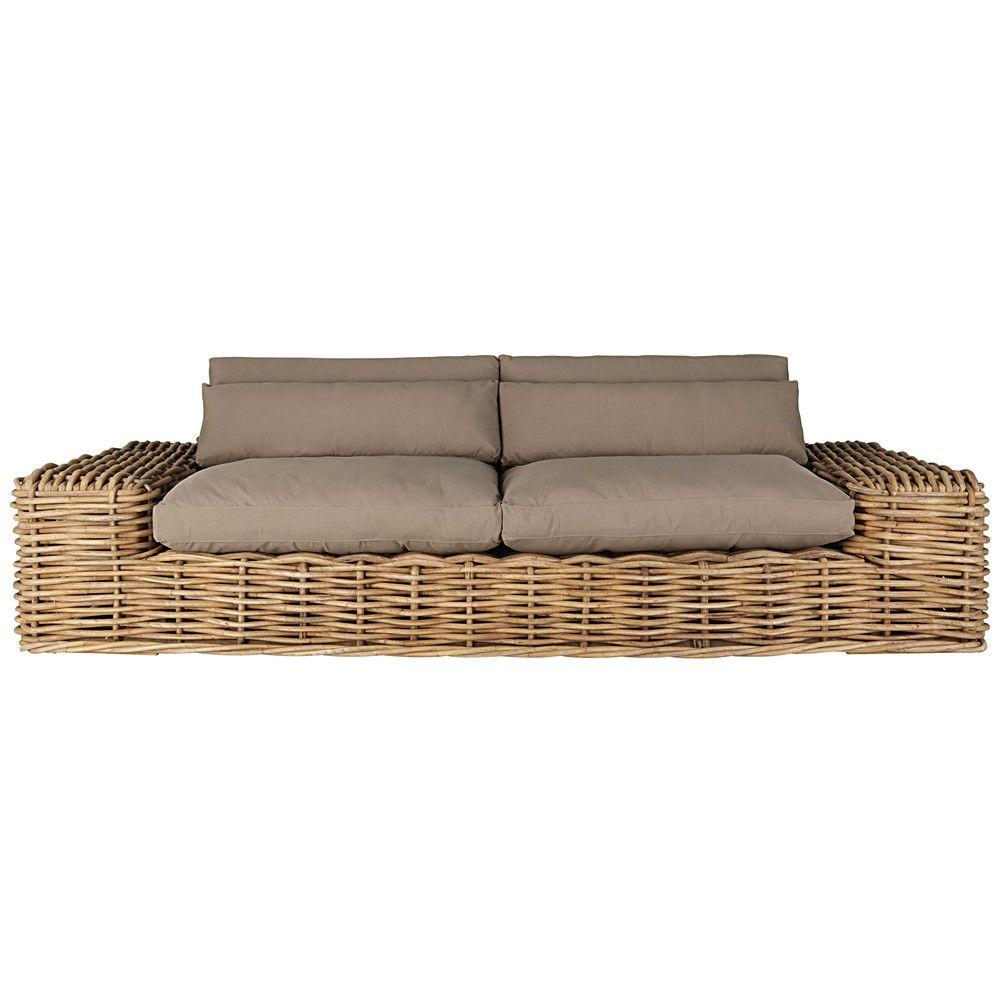 Canapé de jardin 2/3 places en rotin et coussins taupe | Sofá de ...