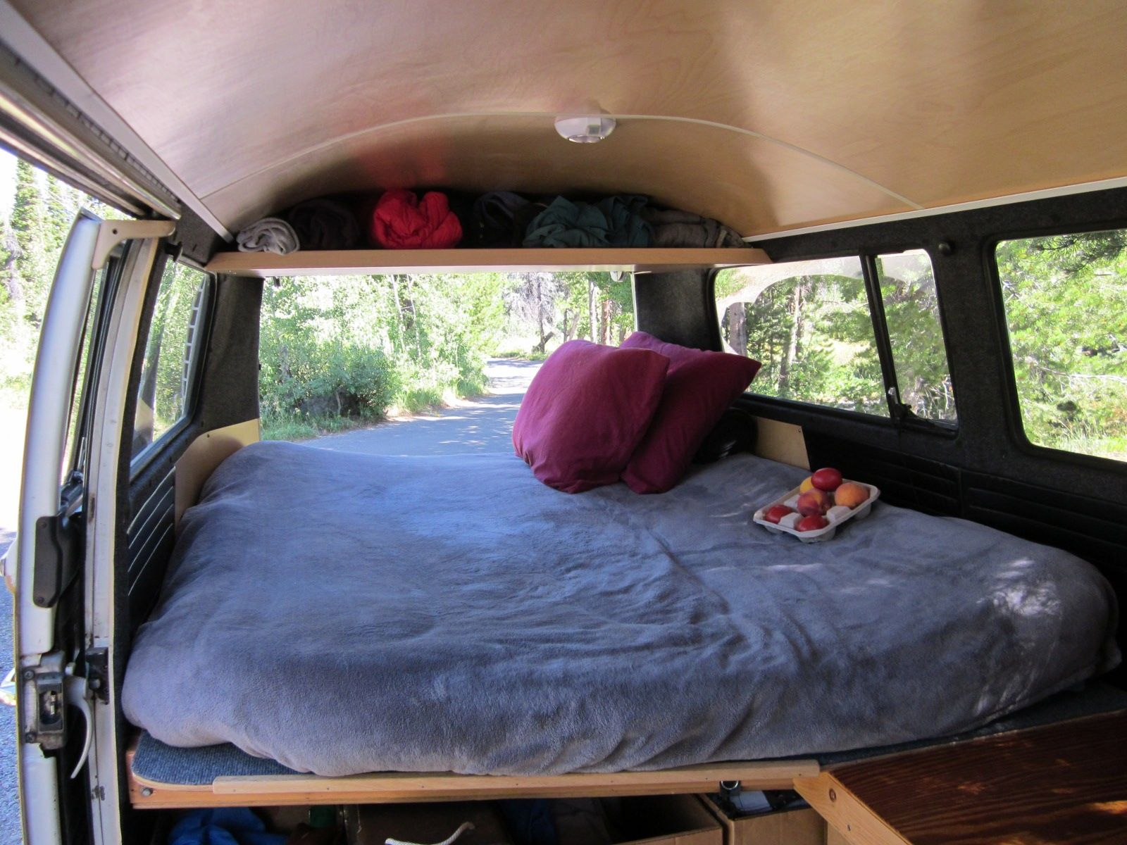 The Roof Wood Paneling Put A Board Across For Storage Also Is That A Light Vw Bus Interior Vw Bus Bus Interior