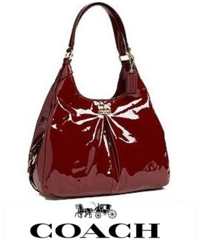 coach 21238 burgundy red patent leather madison maggie hobo shoulder bag coach hobo my. Black Bedroom Furniture Sets. Home Design Ideas