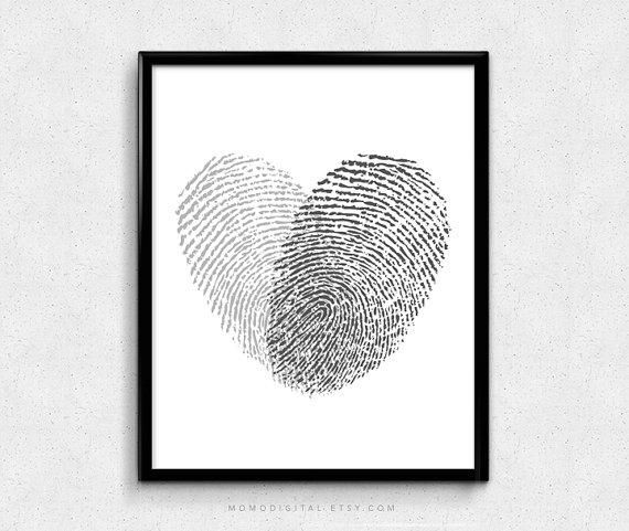 SALE -  Black Heart Fingerprints, Minimalism Print, Minimalist Poster, Couple Heart Print, Fingerprints Art, Love Art, Modern Art Print