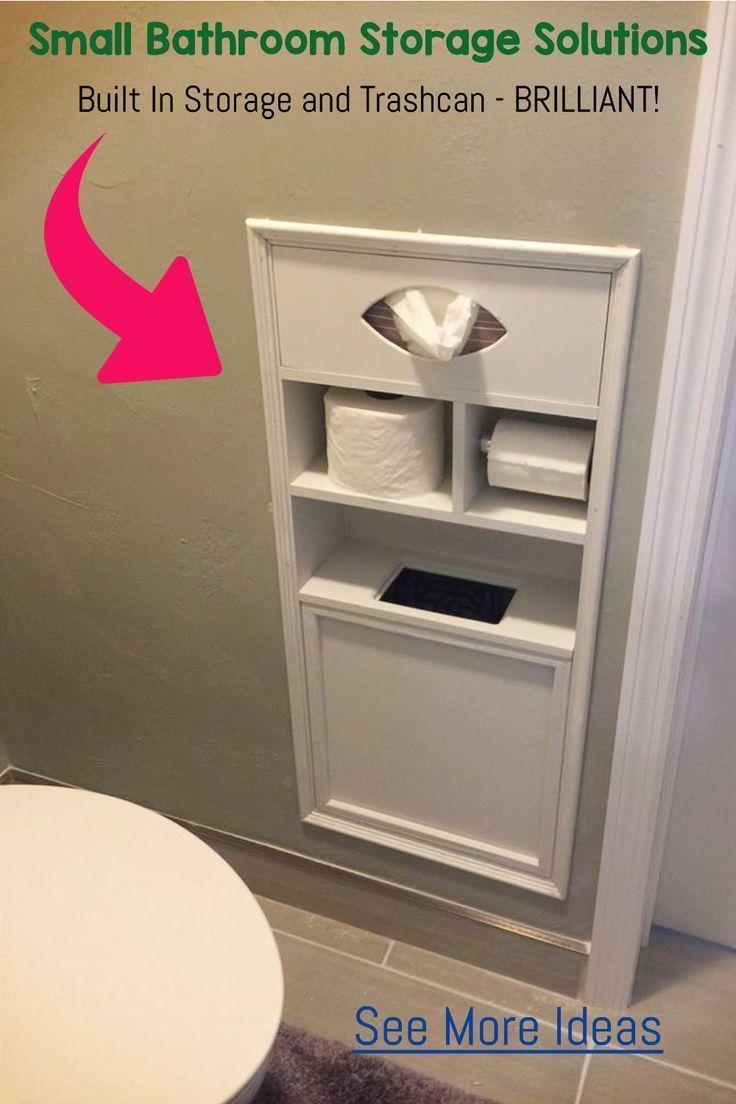 Aufbewahrungslösungen für kleine Badezimmer und Ideen für Regale -  Badezimmer Redo! Hinzufügen eines eingebauten Ablagefachs in der Badezimmerwand für Toilettenpapi - #aufbewahrungslosungen #badezimmer #diybathroomideas #Aufbewahrungslösungen #Badezimme #Badezimmer #für #Ideen #kleine #Regale #und #bathroomideas