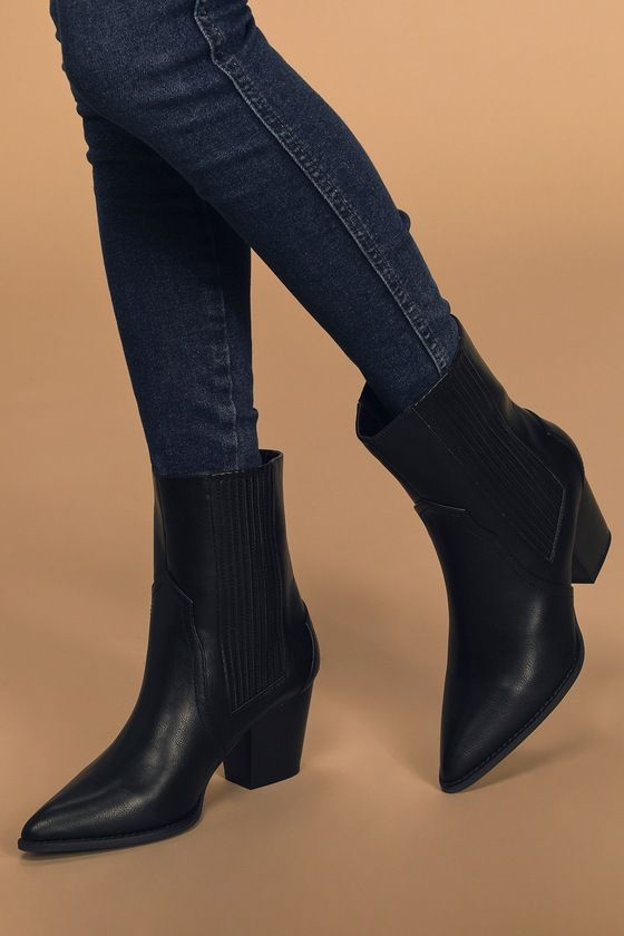 Lulus | Vaylyn Black Pointed-Toe Mid-Calf Boots #shoegame