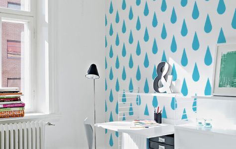 You won't feel the same about raindrops again with our vinyl wall coverings. They will brighten up any dull corner.