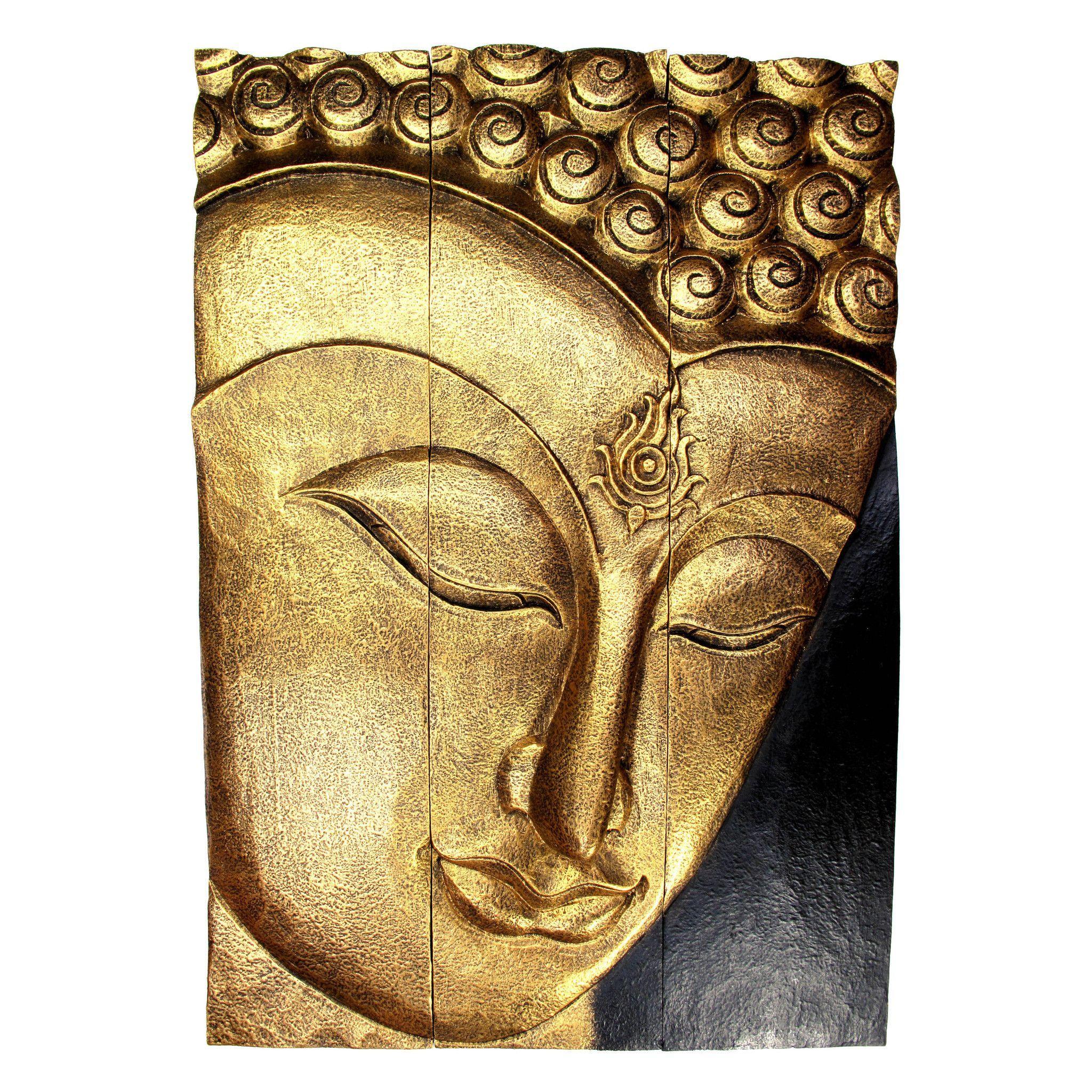 Carved Acacia Wood (Monkey Pod/Samanea Saman Wood) Buddha Panel, 3 ...