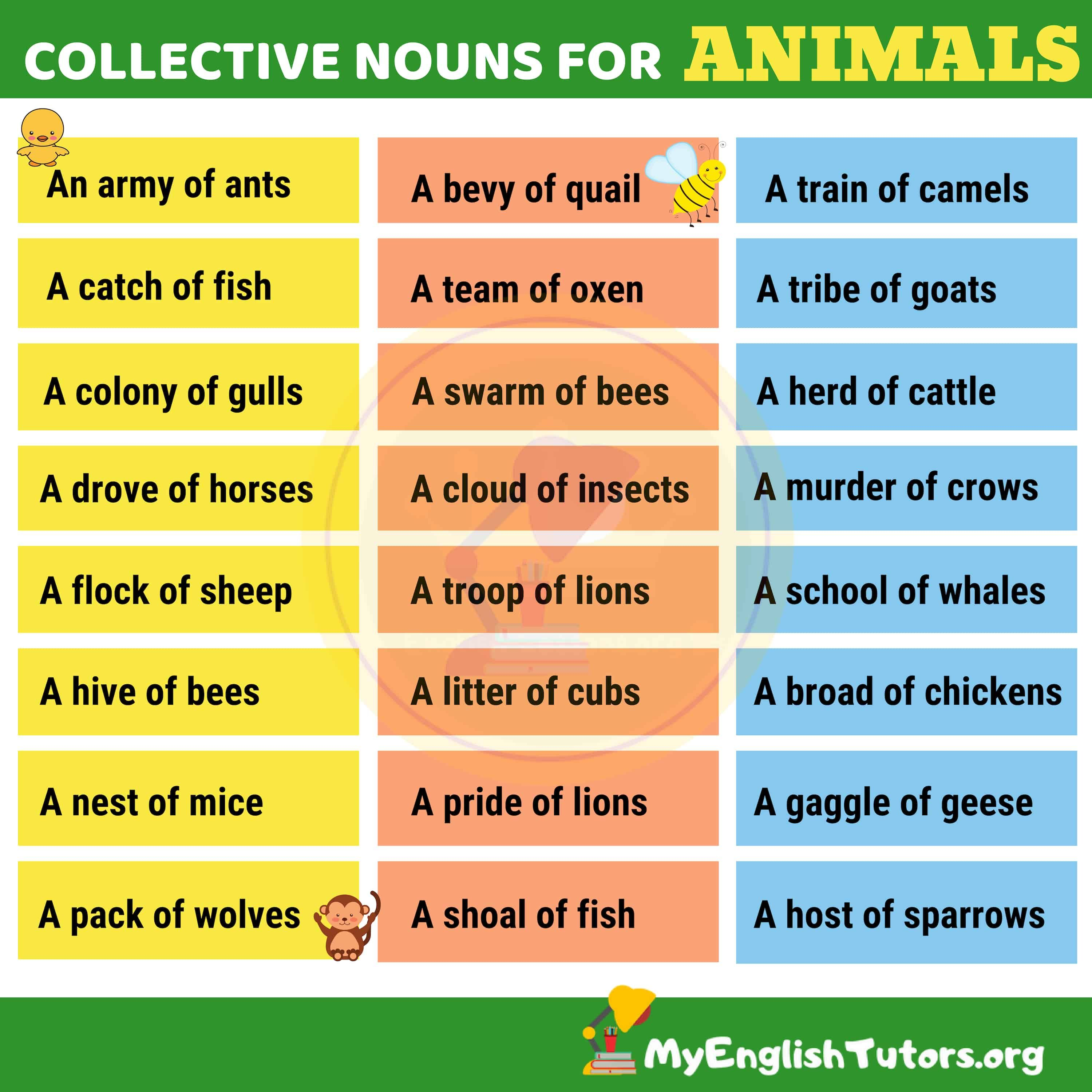 List Of Common Collective Nouns For Animals In English