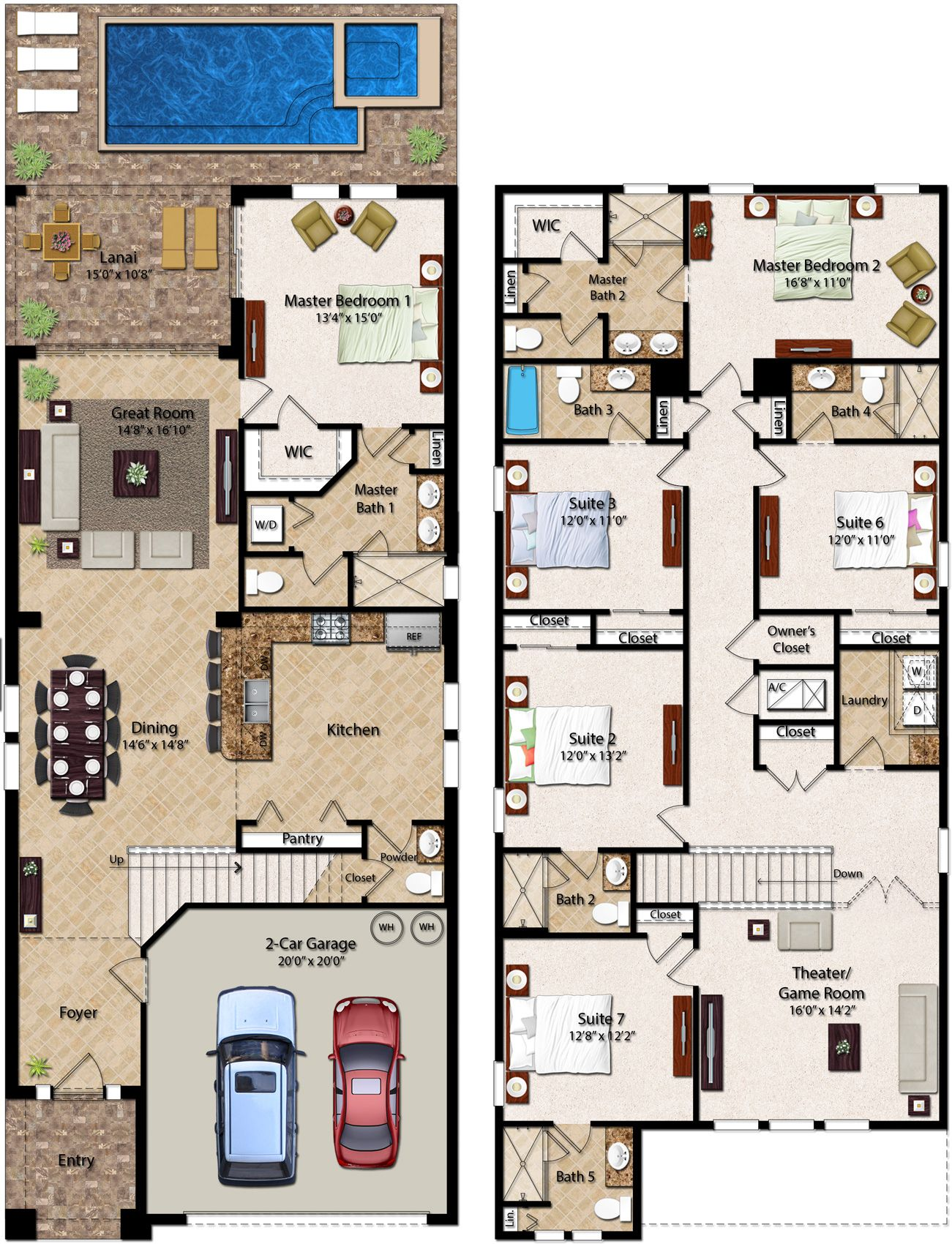 6 Bedroom Homes Ranging From 2 828 To 3 232 Square Feet The Two Story 6 Bedroom Residences Feature A House Plans Mansion House Layout Plans Pool House Plans