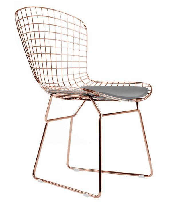 Bertoia Side Chair In Rose Gold Finish Bertoia Side Chair Gold Dining Chairs Wire Dining Chairs