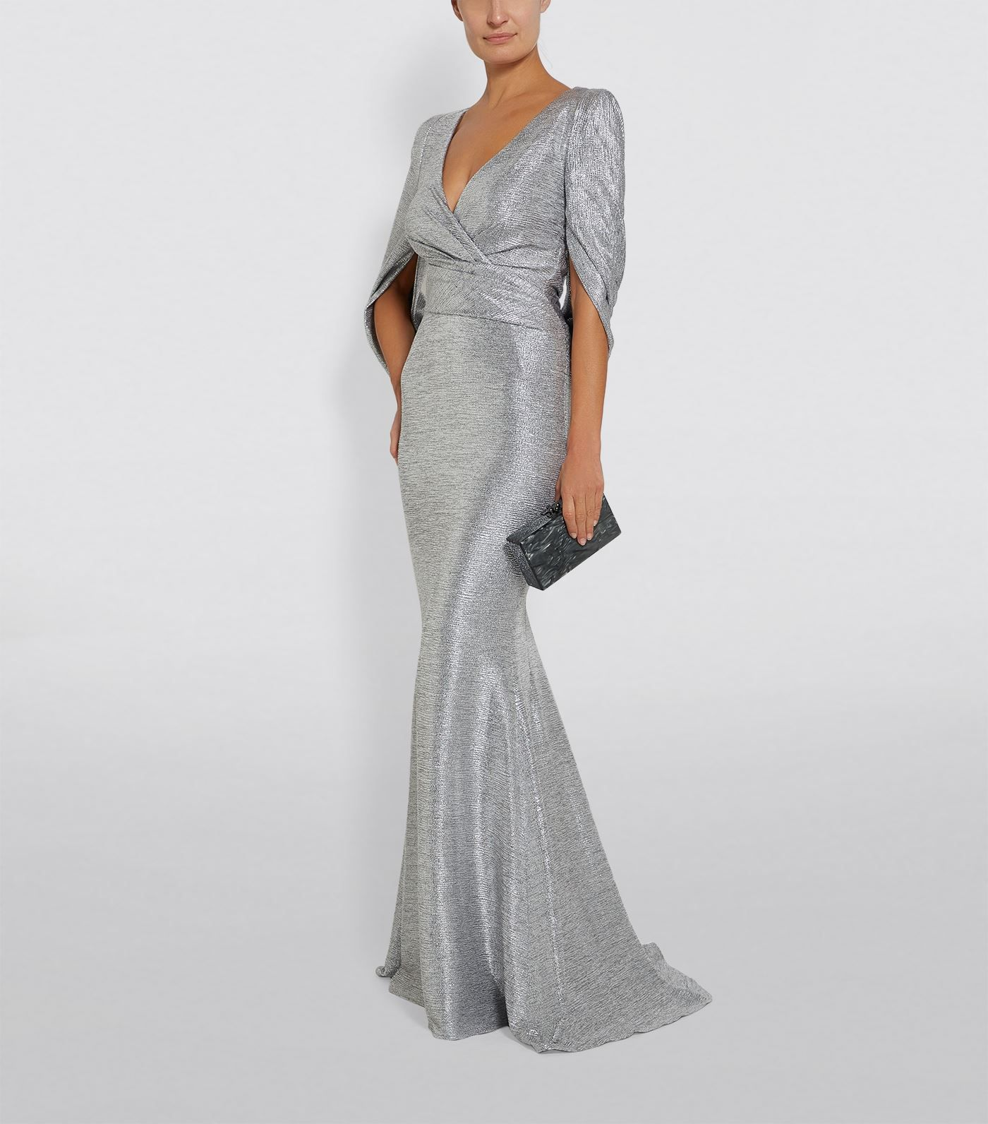 Talbot Runhof Draped Back V Neck Gown Harrods Com Ladies Gown Mother Of The Bride Dresses Gowns [ 1592 x 1400 Pixel ]