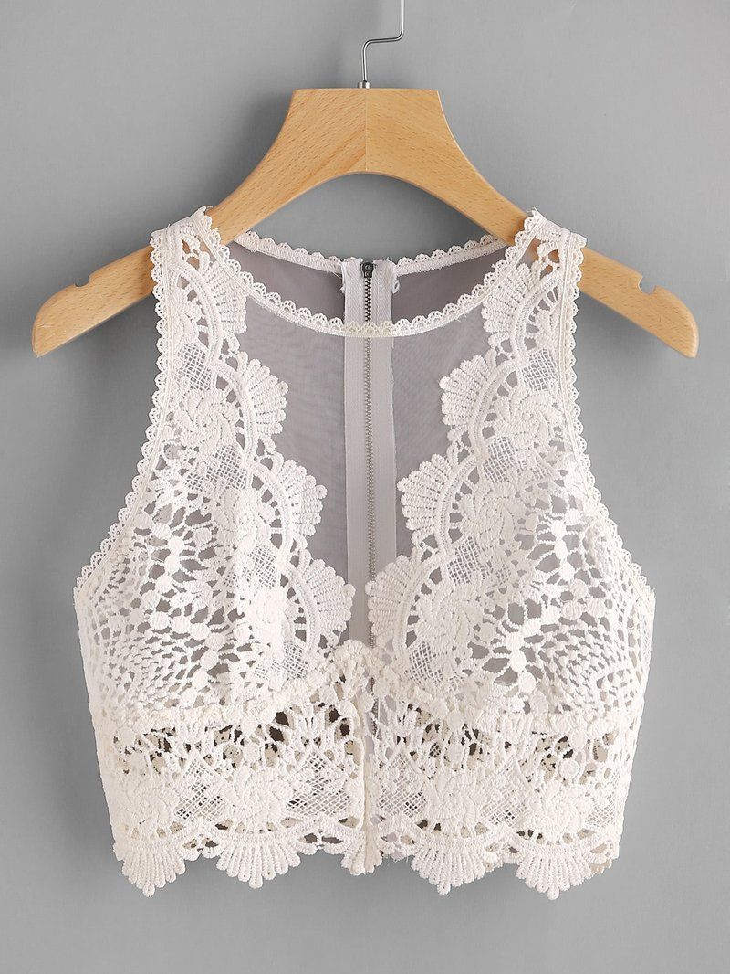 32995c14c74 Scallop Lace Applique Exposed Zip Tulle Tank Top | Women's fashion ...