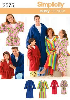 3575 Unisex Hooded Bathrobe Pajama Sewing Pattern 3575 Simplicity ... 0aa6a5f2a