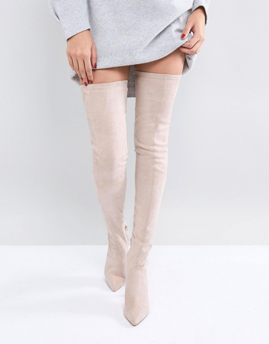 62511dcb0f6 ASOS KENDRA Point Over The Knee Boots – Beige | Boots in 2019 ...