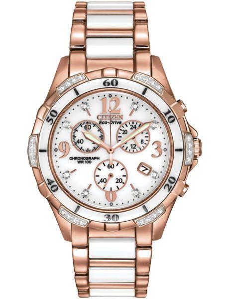 Citizen Ladies Eco Drive Ceramic Rose Tone Chronograph 32 Diamonds Date Citizen Watch Stainless Steel Bracelet Gold Watch