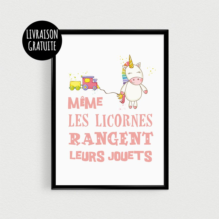 affiche citation licorne pour chambre de b b poster citation scandinave m me les licornes. Black Bedroom Furniture Sets. Home Design Ideas