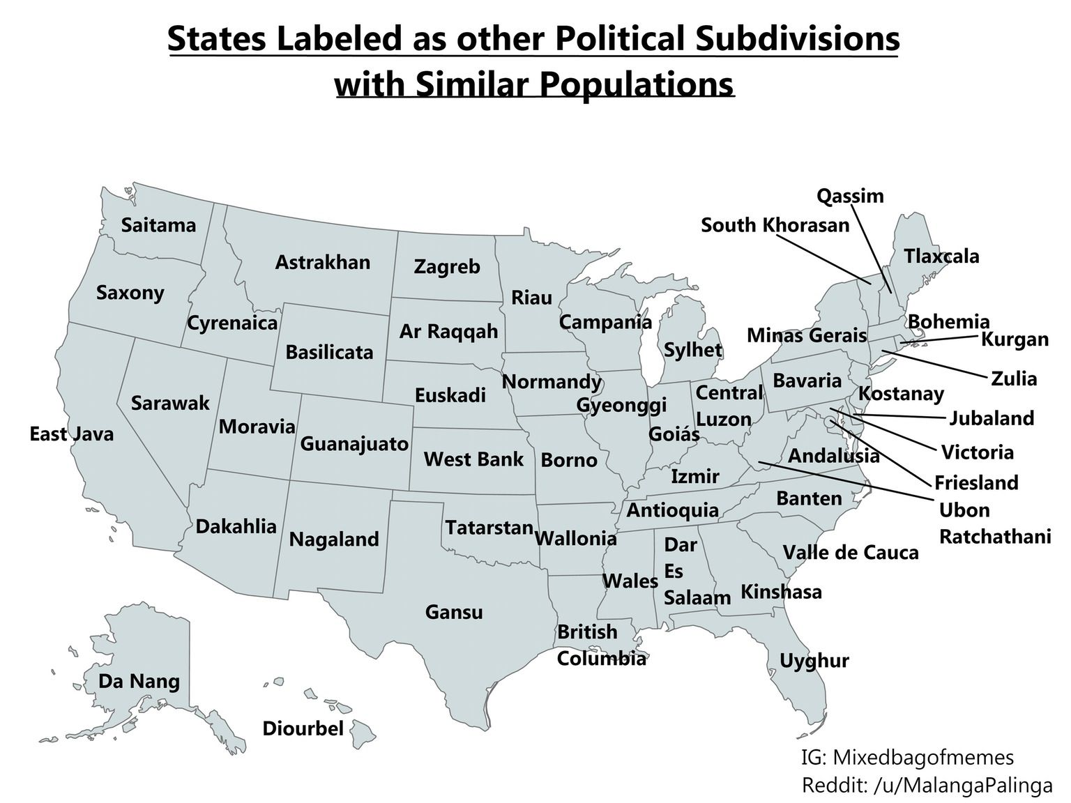 A map of the states labeled as other administrative divisions with