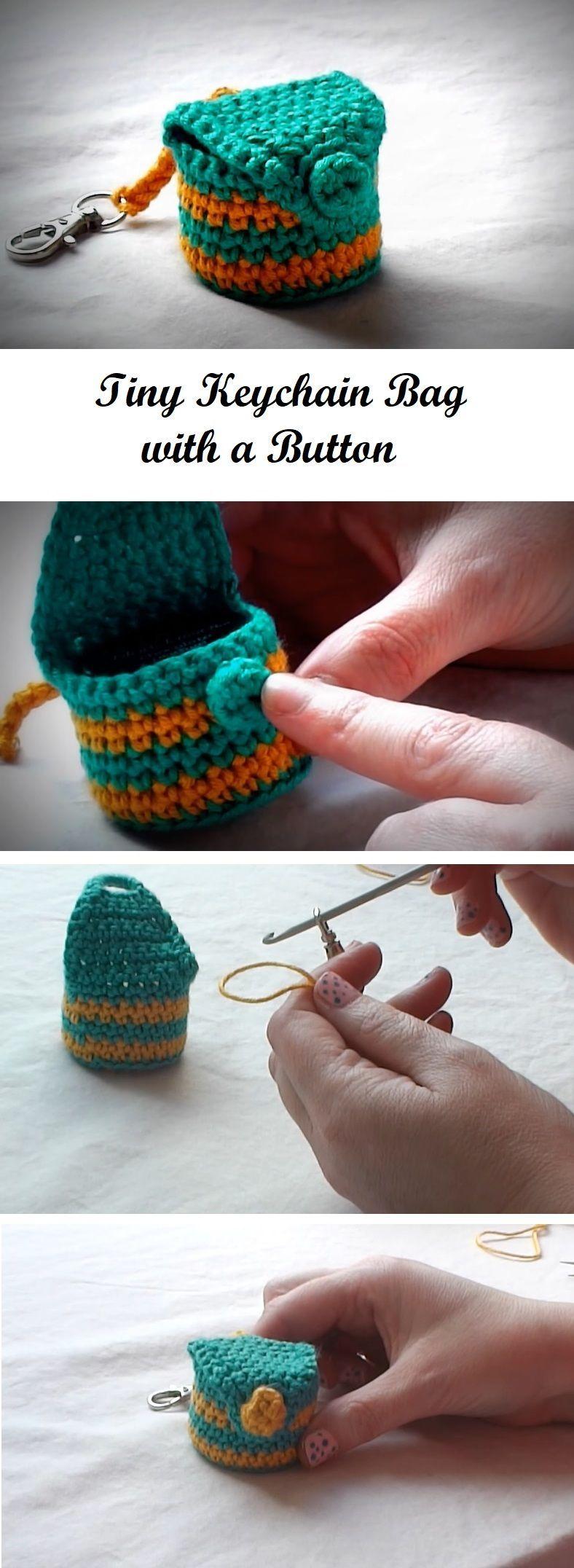 Crochet Tiny Keychain Button Bag crochet sockenstricken