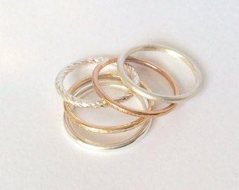 Stellen Sie Mondphase Stapeln Ring Sterling Silber von GaiasCandy