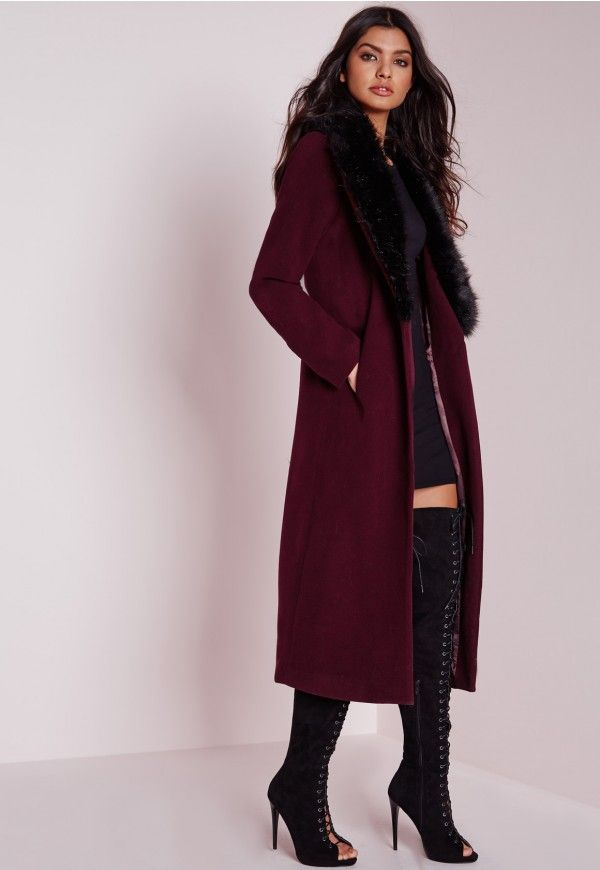 $63 | Longline Wool Coat with Faux Fur Collar Burgundy - Coats and ...