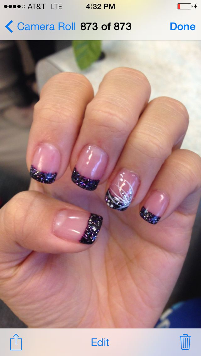 Black Glitter Tips Acrylic Gel Nails In 2019 Gel Nails Gel Nails French French Manicure Gel