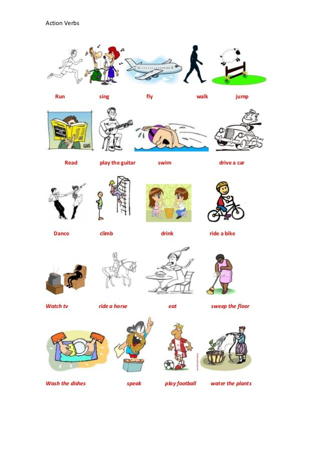 Action Verbs Run sing fly walk jump Read play t English - what is an action verb