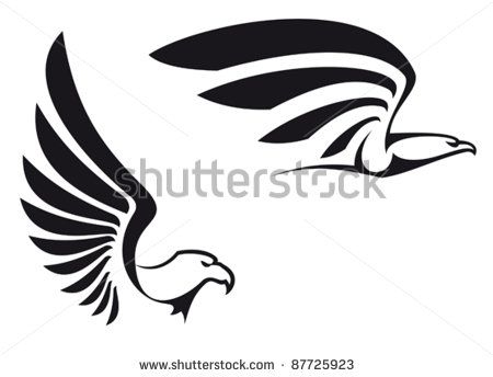Black eagles isolated on white background for mascot or emblem design also a logo idea