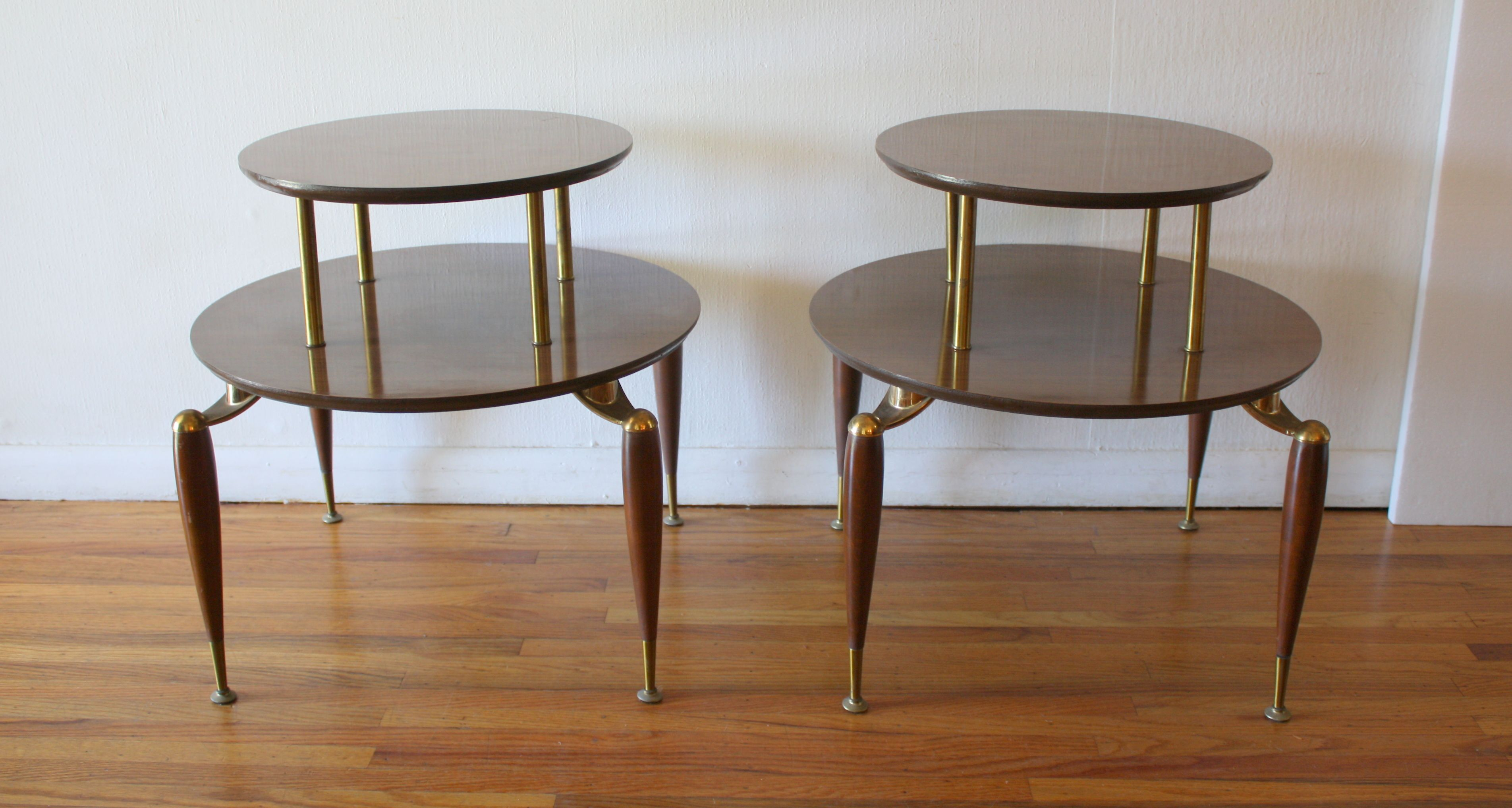 Mid Century Modern Pair Of Round 2 Tiered Side Tables With Br Accented Tapered Legs