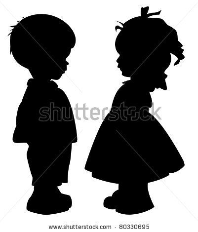 The two silhouette of a boy and