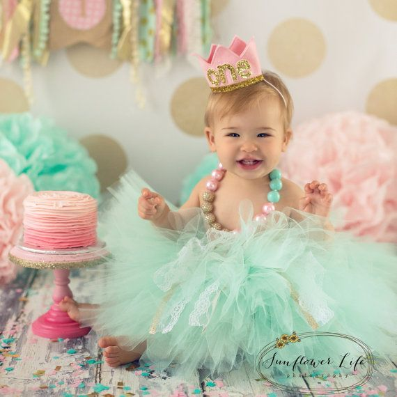 Birthday Girl Outfit Baby Tutu Cake Smash Outfit Mint Green Gold Outfit Personalised First Birthday Girl Outfit CHOOSE COLOR!