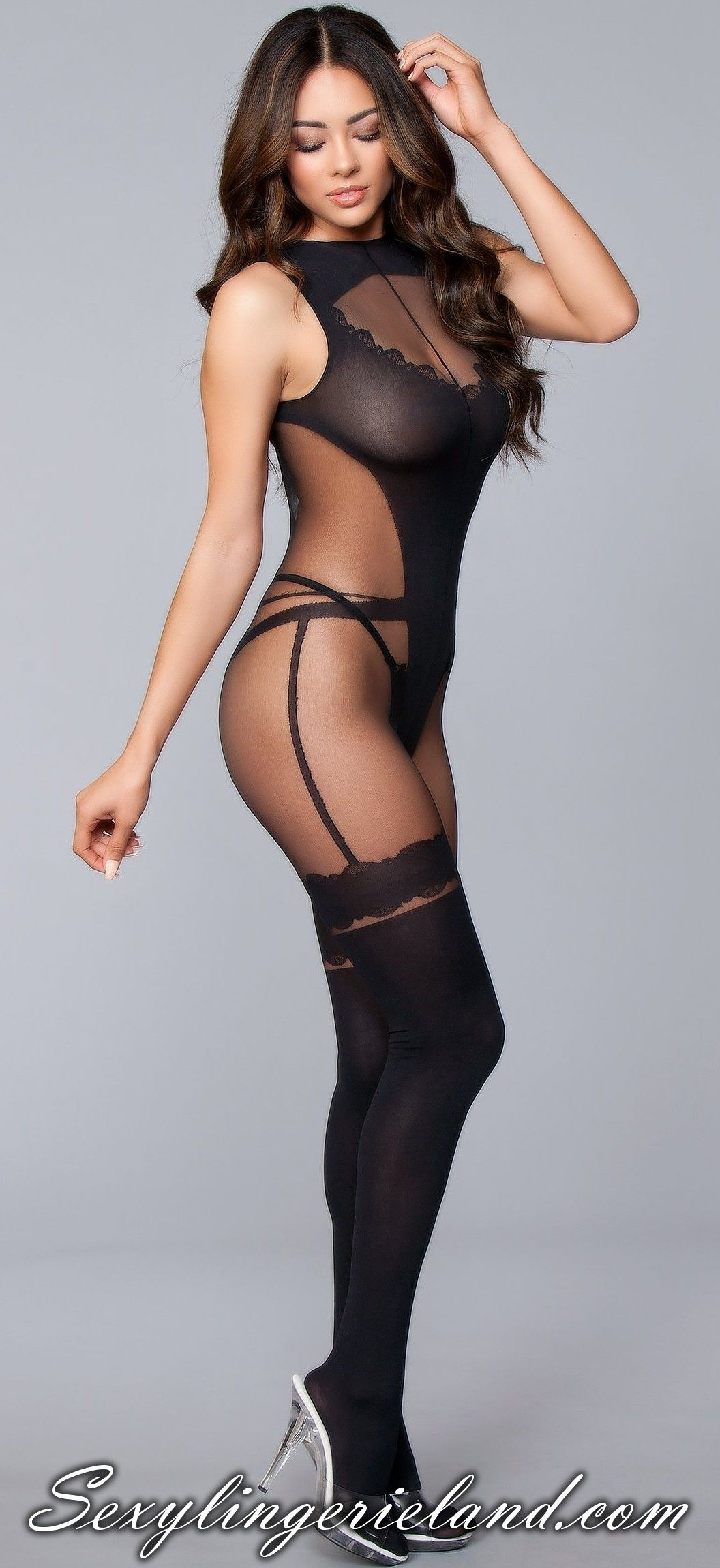 5528dca7c Very  sexy black  bodystocking with stylish design.  Girls bodystocking is  imitating bodysuit with thong back and faux tigh highs.