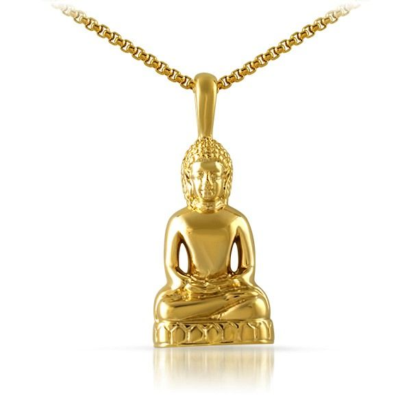 Gold calm sitting buddha pendant this classic buddhist jewelry gold calm sitting buddha pendant this classic buddhist jewelry design looks amazing crafted from mozeypictures Images