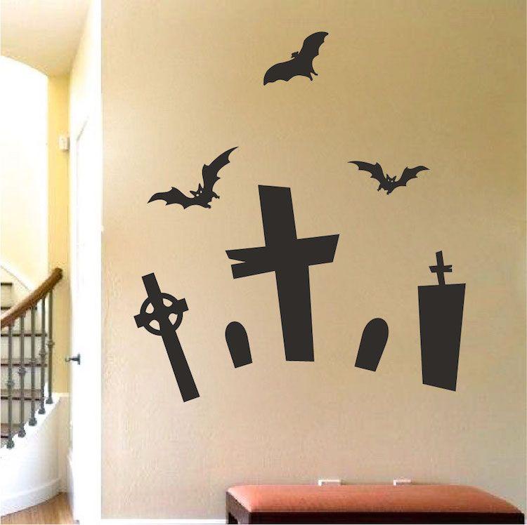 Halloween Graveyard Wall Mural Decal - Halloween Stickers ...