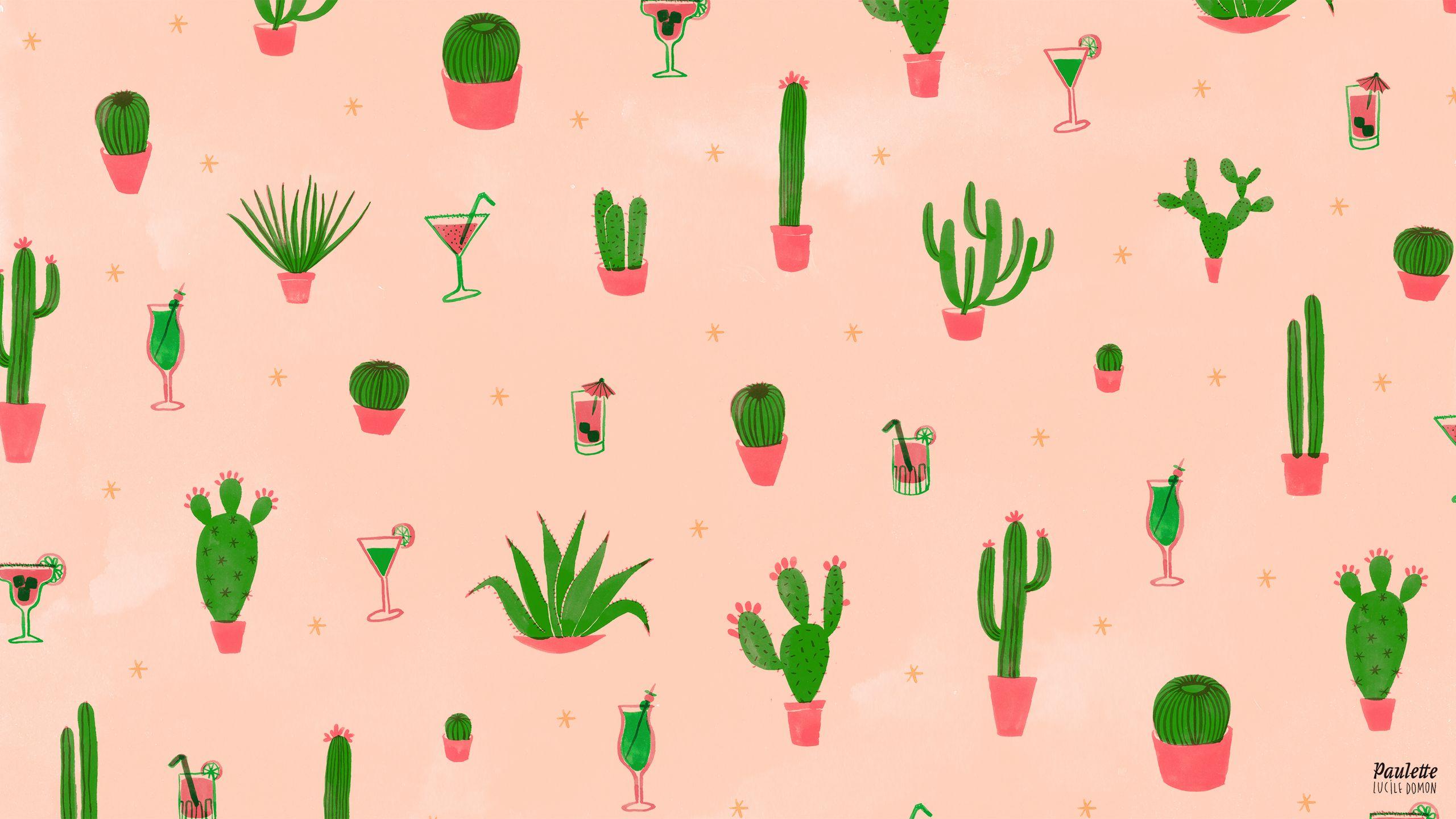 Illustration De Lucile Domon Fondos De Cactus Wallpaper Para Pc Fondos De Computadora