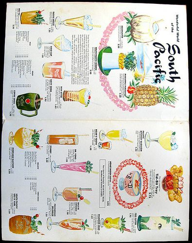 1967 cocktail menu, inside page spread --  cocktail menu from South Pacific - Hallandale, FL