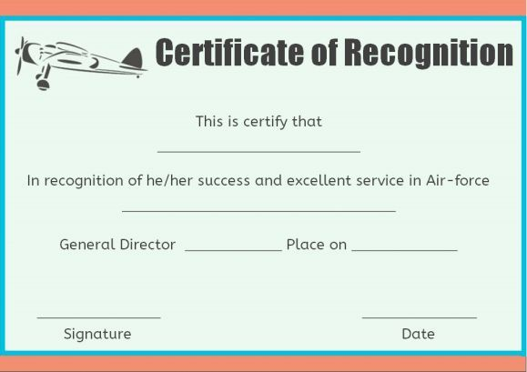 Air Force Certificate Of Recognition Template Certificate Of