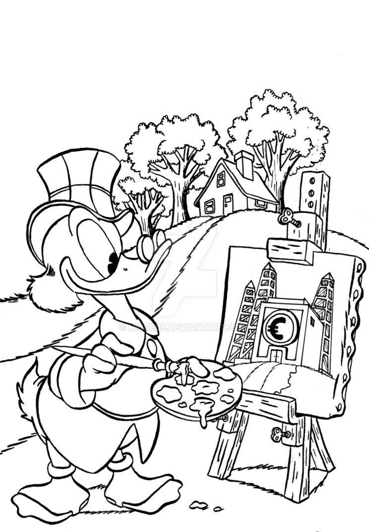 Uncle scrooge painting money bin by hiddeviantart on