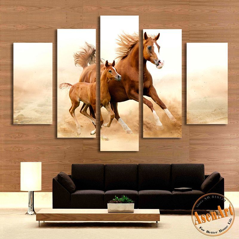 5 Piece Wall Art Mom With Kid Large Horse Painting Canvas Prints Artwork Picture For