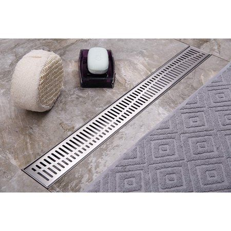 Neodrain Linear Shower Drain 36 Inch With Removable Wave Pattern Grate Brushed 304 Stainless Steel Rectangle Shower Floor Drain Floor Showe Floor Drains Shower Drain Shower Floor