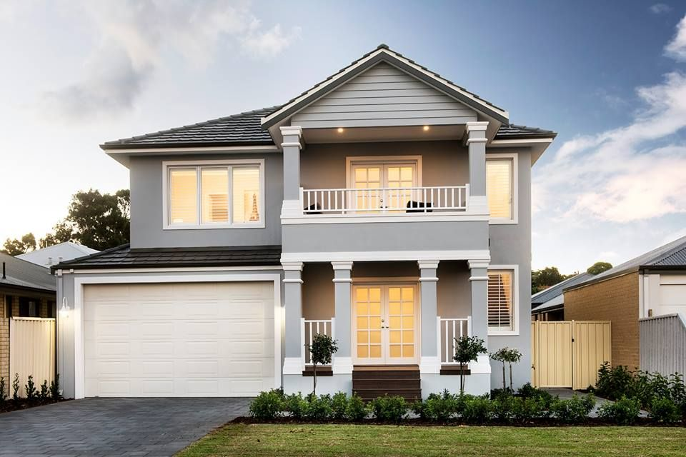 Exterior inspiration hamptons style grey white 2 storey for Double storey beach house designs