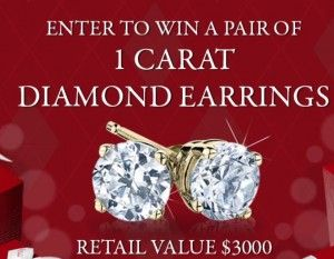 Enter to Win a Pair of 1 Carat Diamond Earrings ($3000 Value)