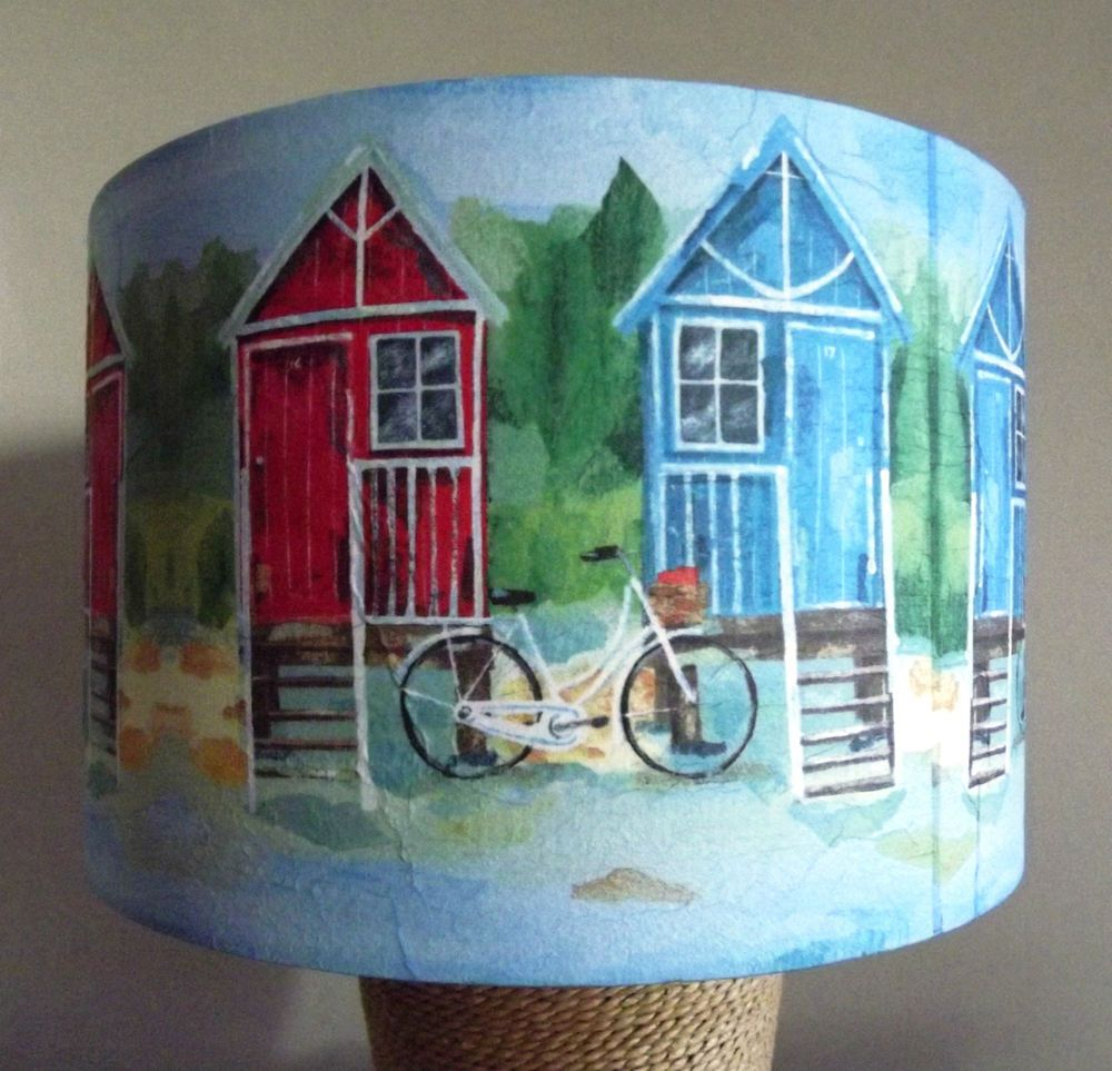 Nautical Beach Hut Lampshade Seaside Bicycle Red And Blue