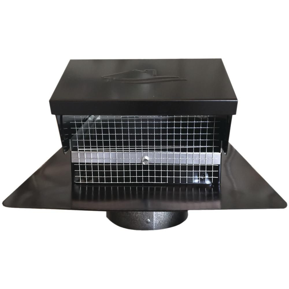 Black metal roof vent cap 4in collar12635 the home